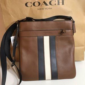 NEW Coach Men Leather Varsity Crossbody Bag